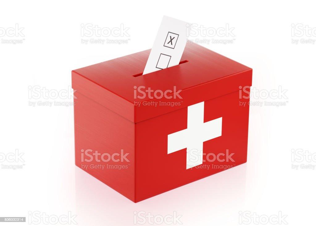 Urne mit Schweizer Flagge texturiert – Foto