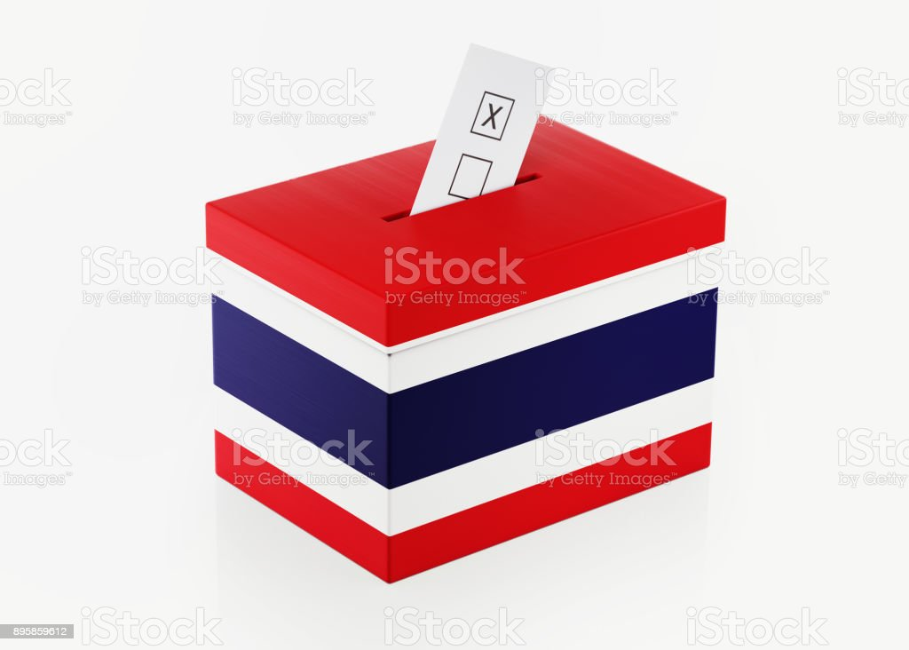 Ballot Box Textured with Thai Flag stock photo