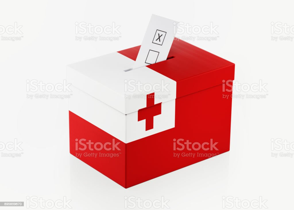 Ballot Box Textured with Tongan Flag stock photo