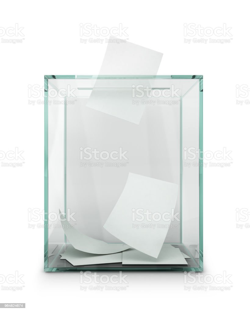 Ballot box with Ballot paper. 3d Illustration royalty-free stock photo