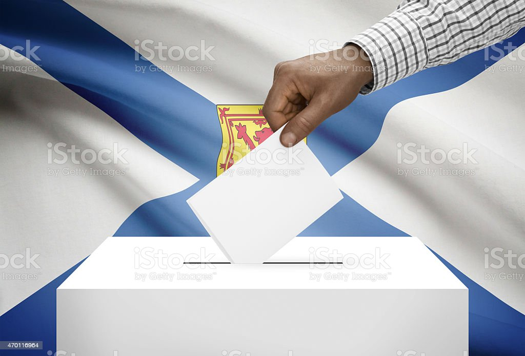 Ballot box with Canadian province flag on background. Nova Scotia stock photo