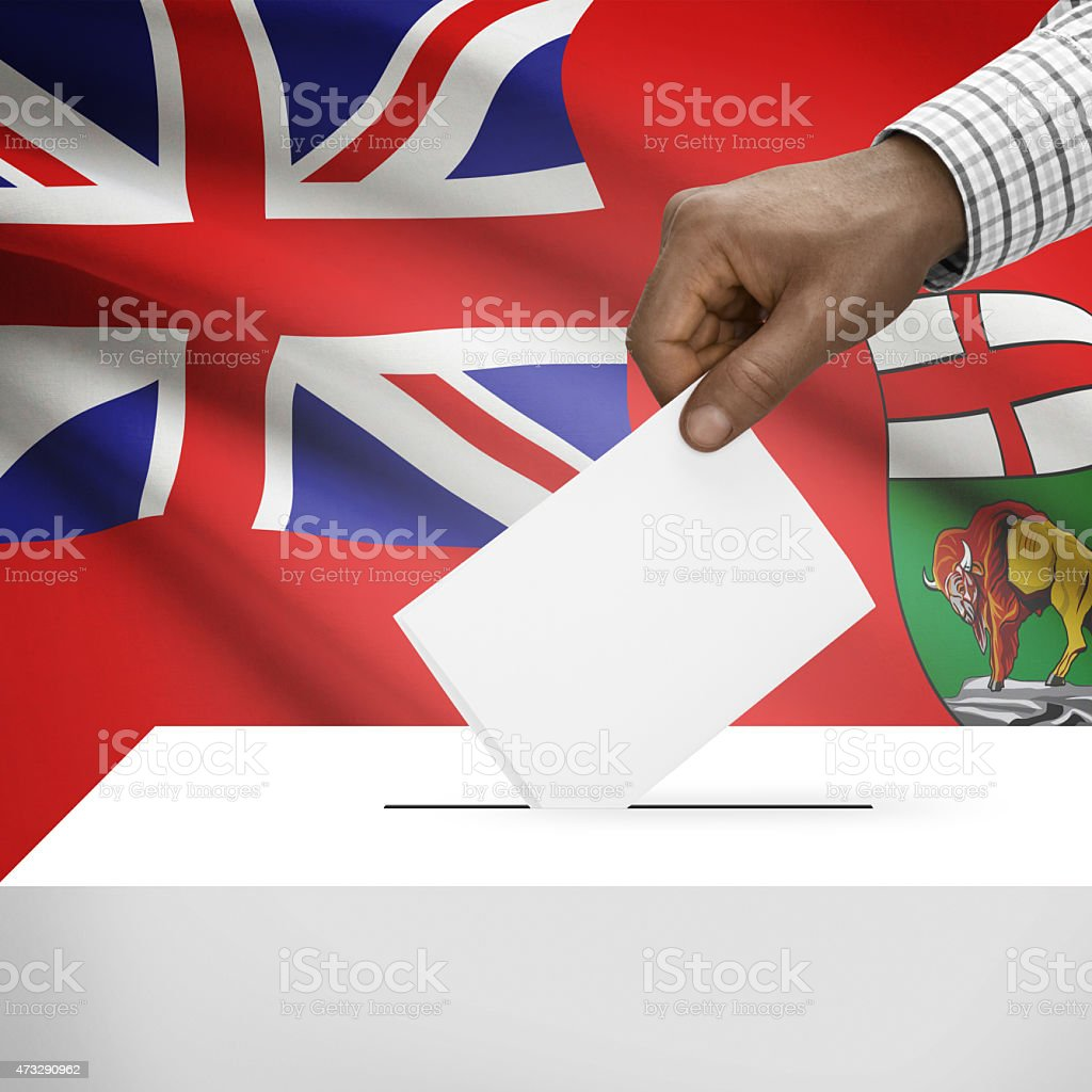 Ballot box with Canadian province flag series - Manitoba stock photo