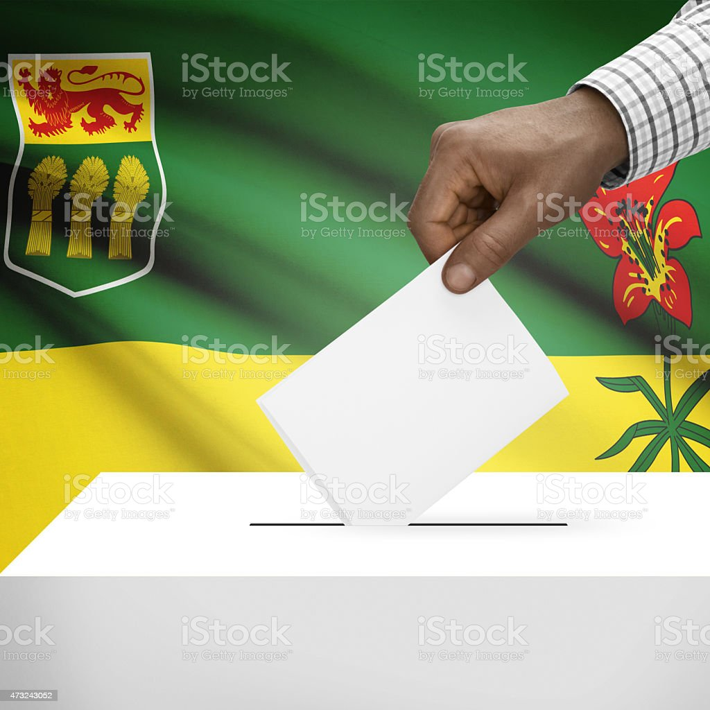 Ballot box with Canadian province flag series - Saskatchewan stock photo