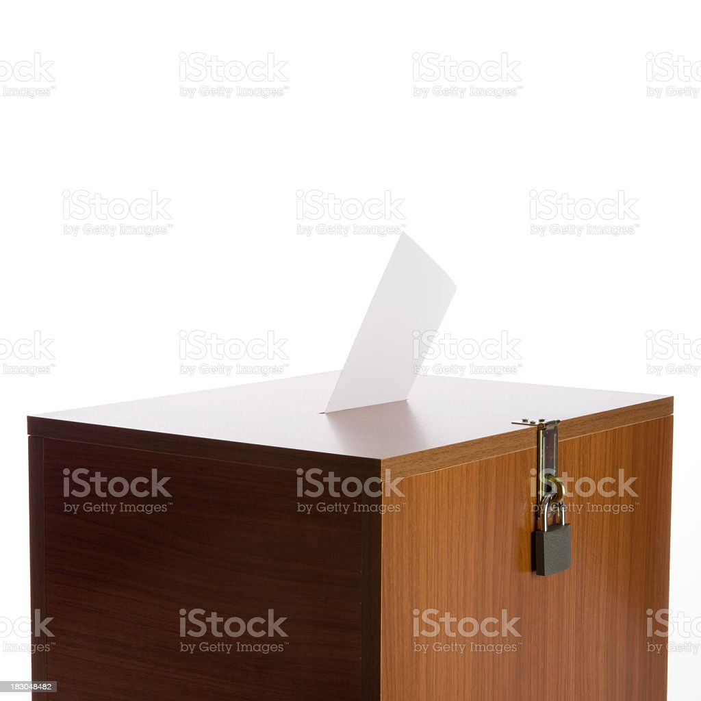 Ballot Box With Envelope And Padlock On White Background royalty-free stock photo