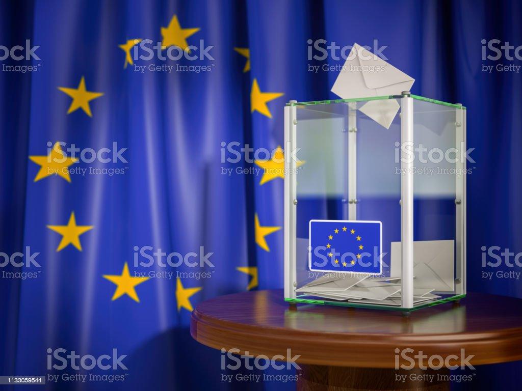 Ballot box with European Union EU flag. 3d illustration royalty-free stock photo