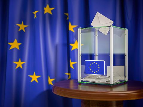 Ballot Box With European Union Eu Flag 3d Illustration Stock Photo - Download Image Now