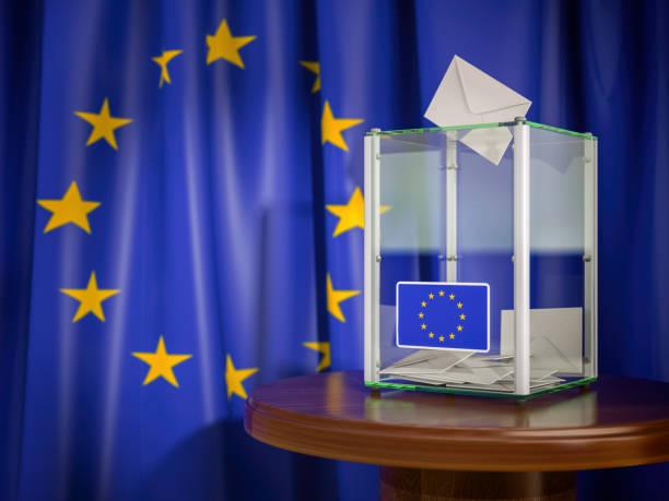 Ballot box with European Union EU flag. 3d illustration stock photo
