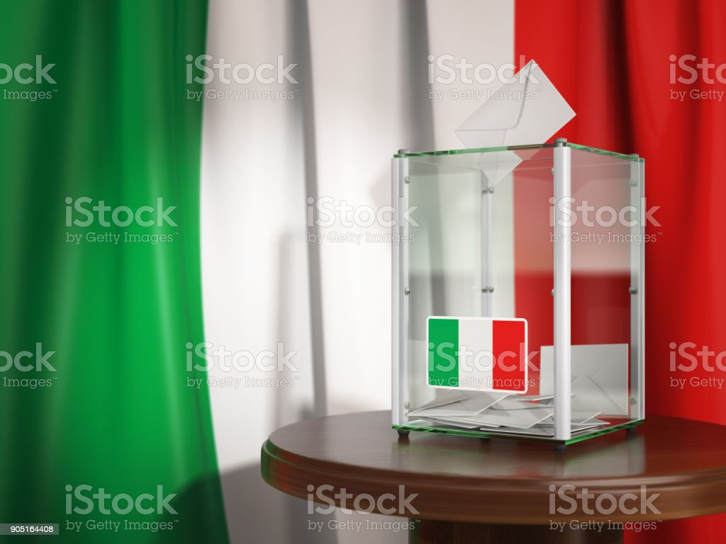 Ballot box with flag of Italy and voting papers.Italian residential or parliamentary election. stock photo