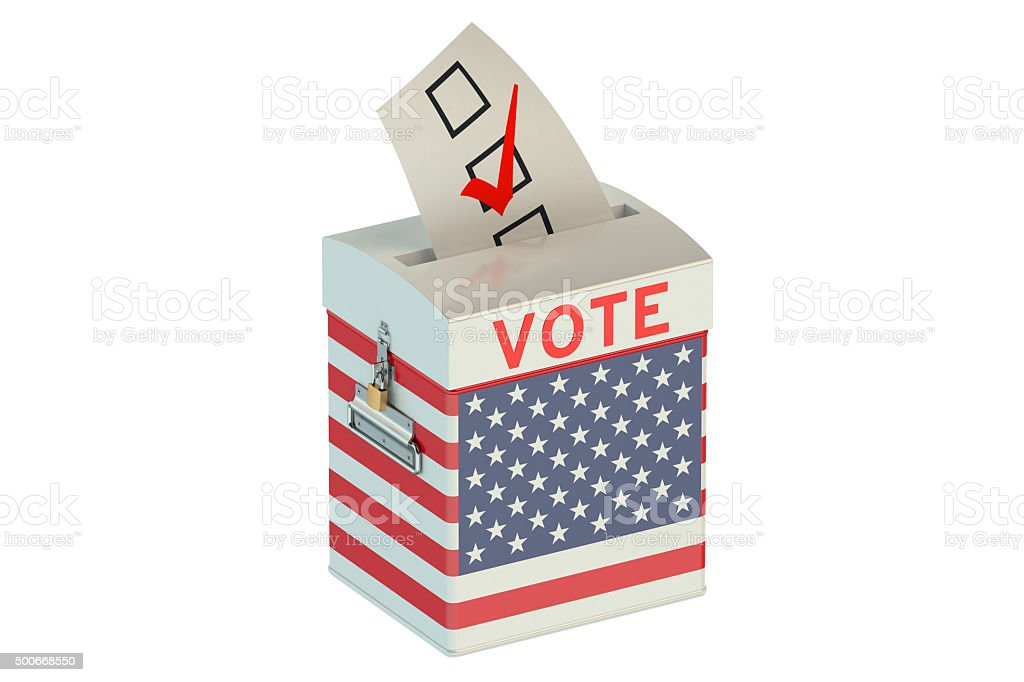 ballot box with flag of USA stock photo