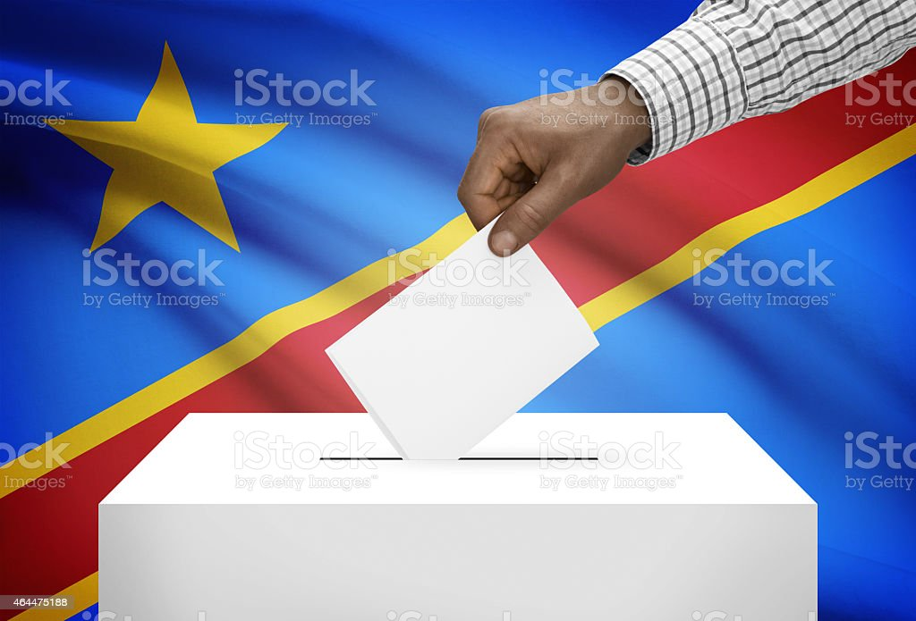 Ballot box with flag on background - Congo-Kinshasa stock photo