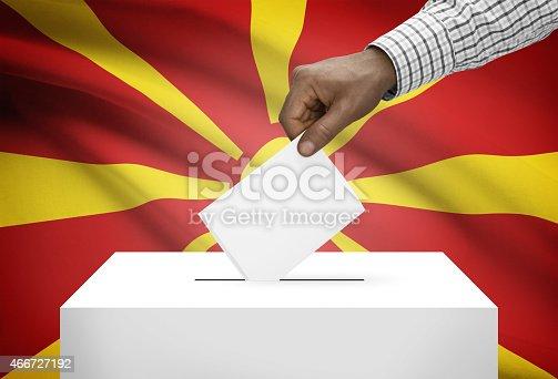 935056316 istock photo Ballot box with flag on background - Republic of Macedonia 466727192