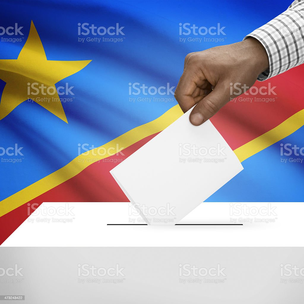 Ballot box with flag - Republic of the Congo Congo-Kinshasa stock photo