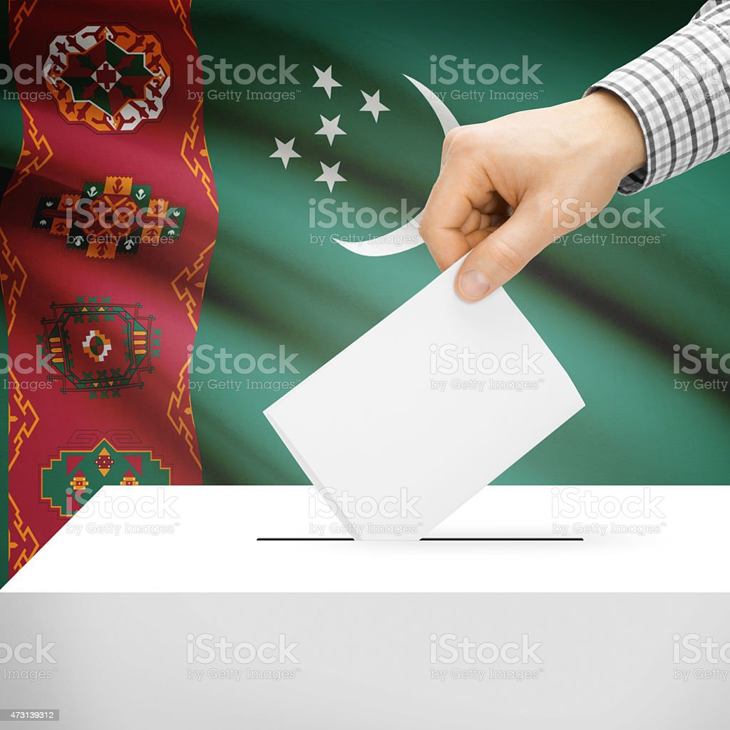 Ballot box with national flag on background - Turkmenistan stock photo