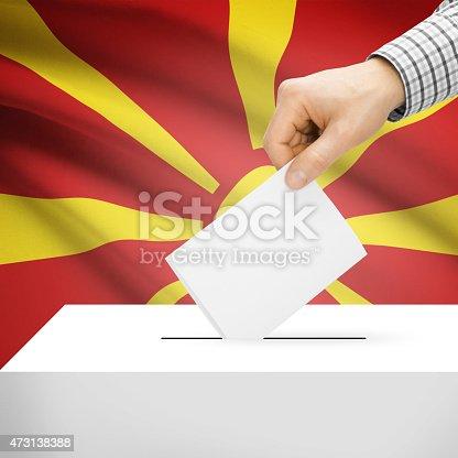 935056316 istock photo Ballot box with national flag - Republic of Macedonia 473138388