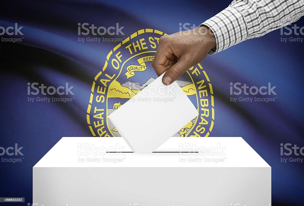Ballot box with US state flag on background - Nebraska stock photo