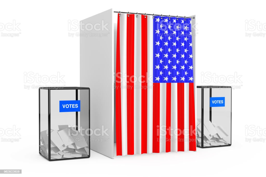 Ballot Boxes near White Voting Booth with Curtain and USA Flag. 3d Rendering - Foto stock royalty-free di Cabina elettorale