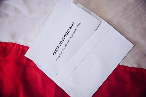 Ballot paper in president elections in Republic of Poland in Polish language. stock photo
