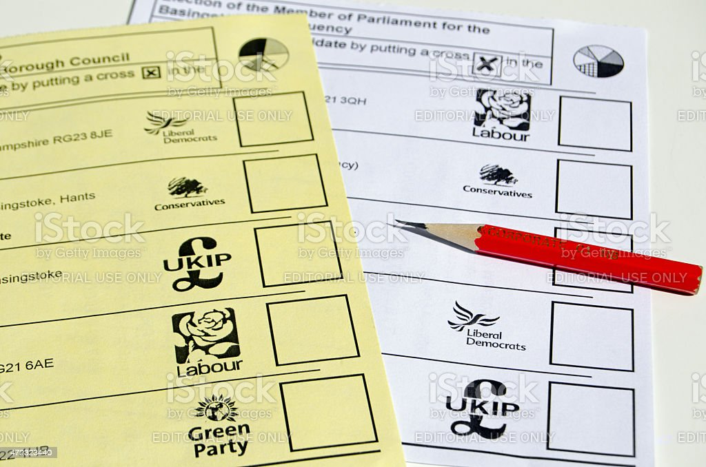 Ballot papers, UK Election stock photo
