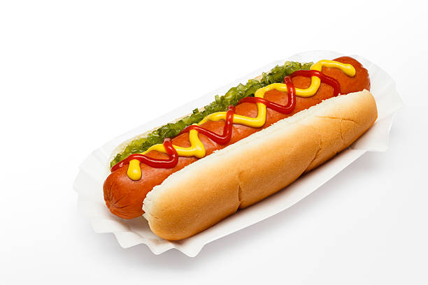 ballpark hotdog (path) - hot dog stock pictures, royalty-free photos & images