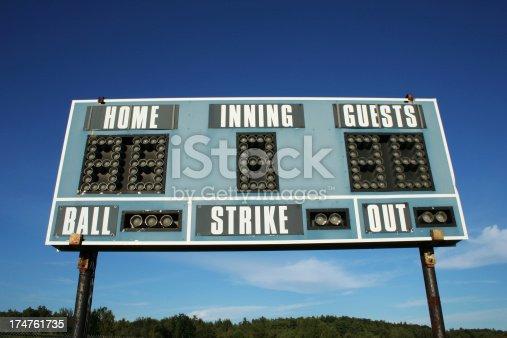 shot of baseball scoreboard against blue sky