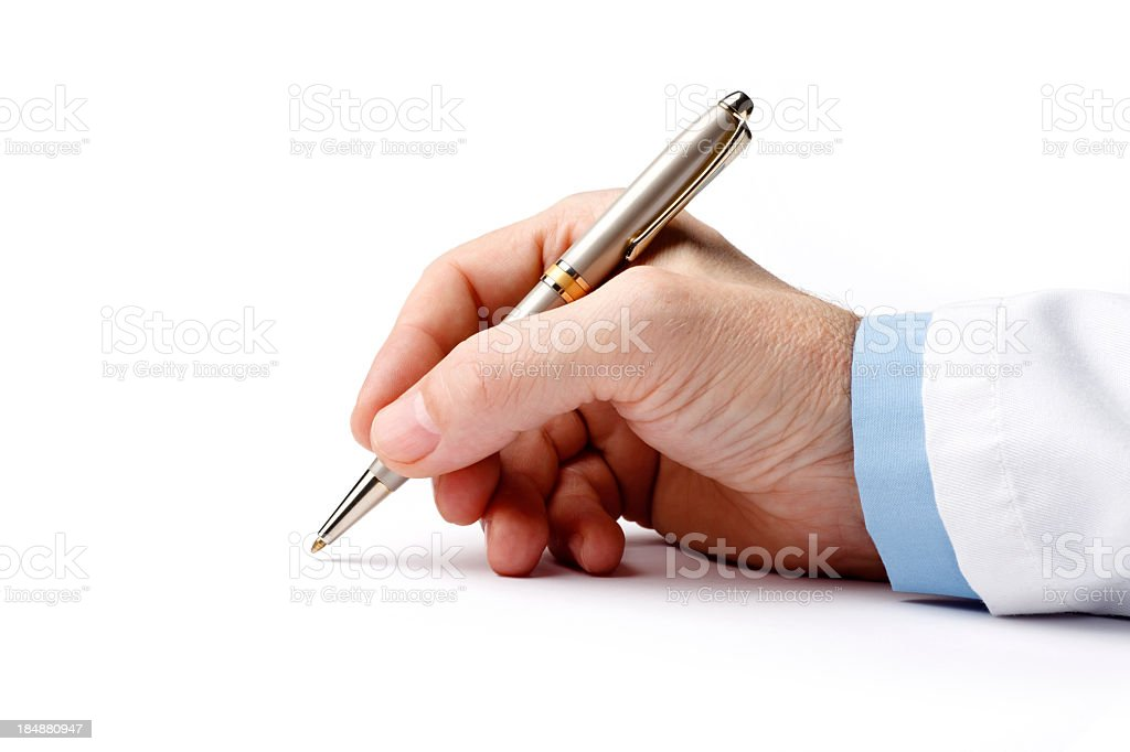Ballpoint pen in the doctor's hand on white background stock photo