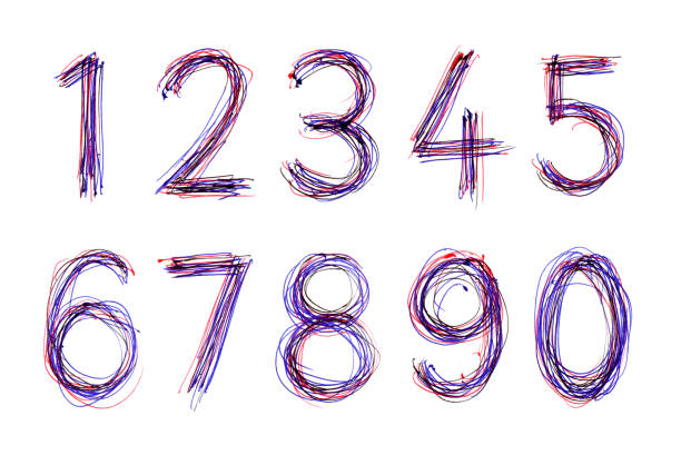 kugelschreiber skizzenzahlen von 1 bis 0 - handschriftliche typografie stock-fotos und bilder