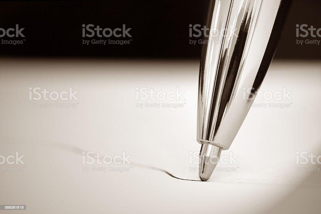 Bolígrafo escrito - foto de stock