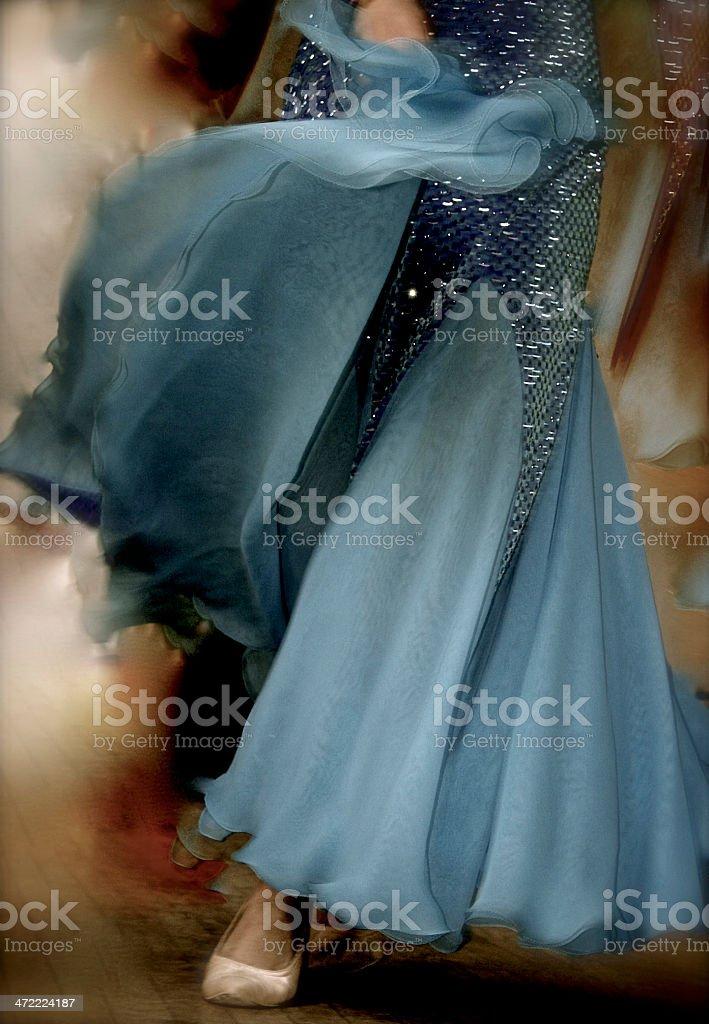Ballroom dance gown swirling stock photo