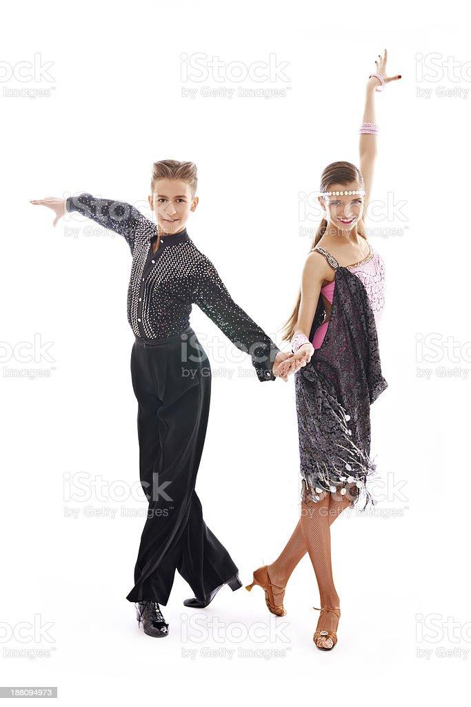 Ballroom dancers tangoing stock photo