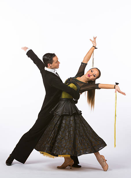 Ballroom Dancers with Black and Yellow Gown - Arms Out – Foto