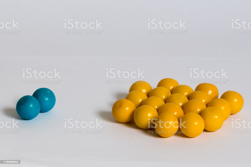balls, bubblegum in two groups stock photo
