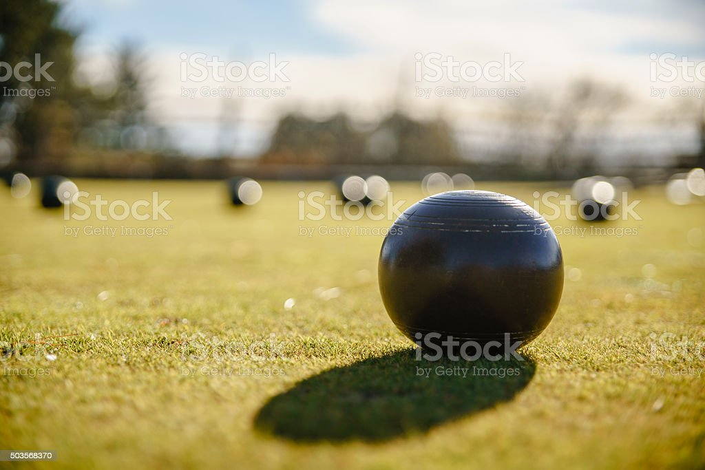 Balls for bowls at the lawn stock photo