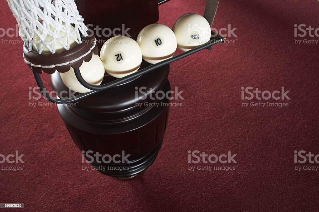 balls in a billiard pocket royalty-free stock photo