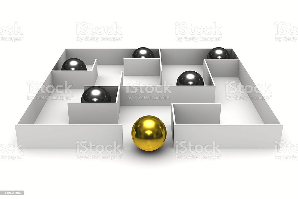balls in labyrinth on white background. Isolated 3D image stock photo