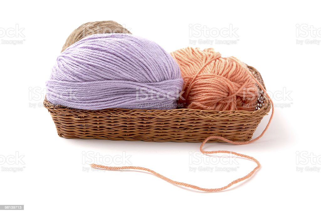 Balls of a yarn knitting  in wooden box royalty-free stock photo
