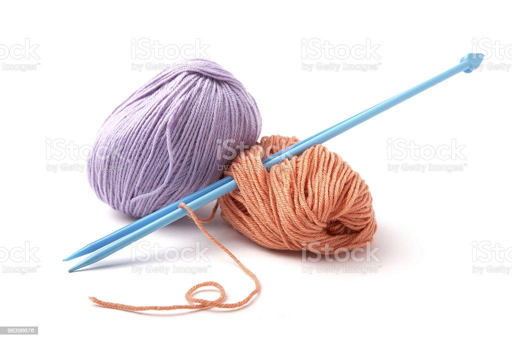 Balls of a yarn knitting spokes royalty-free stock photo