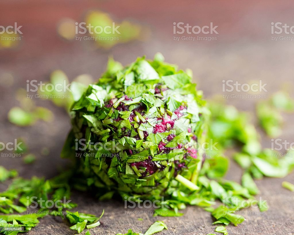 Balls of beet rolled in parsley, tasty summer appetizer stock photo