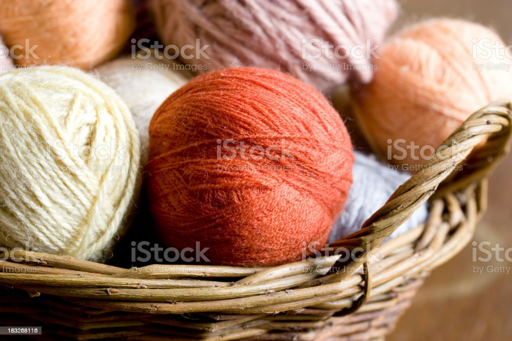 Balls of wool yarn in a wicker basket royalty-free stock photo