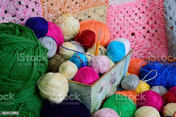 Balls of yarn in a basket with colorful crochet background picture id625472682?b=1&k=6&m=625472682&s=612x612&h=udpxdpxi77z8oyqanluzbvoxgxujwzq6sbmmjvbsnqy=