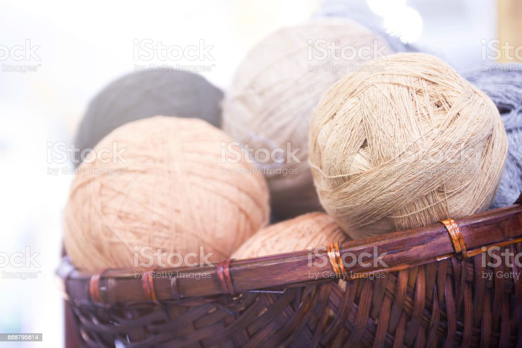 Balls Of Yarn In Basket, On Wooden Background And Copy Space. stock photo
