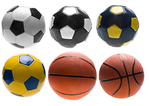 Balls Four different types soccer ball and basketballs in two different angles. medium group of objects stock pictures, royalty-free photos & images