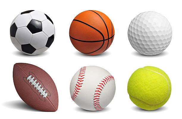 balls set Collection of balls isolated on white background baseball sport stock pictures, royalty-free photos & images