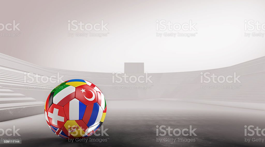 Balls with Europe countries european flags in stadium.3D rendering