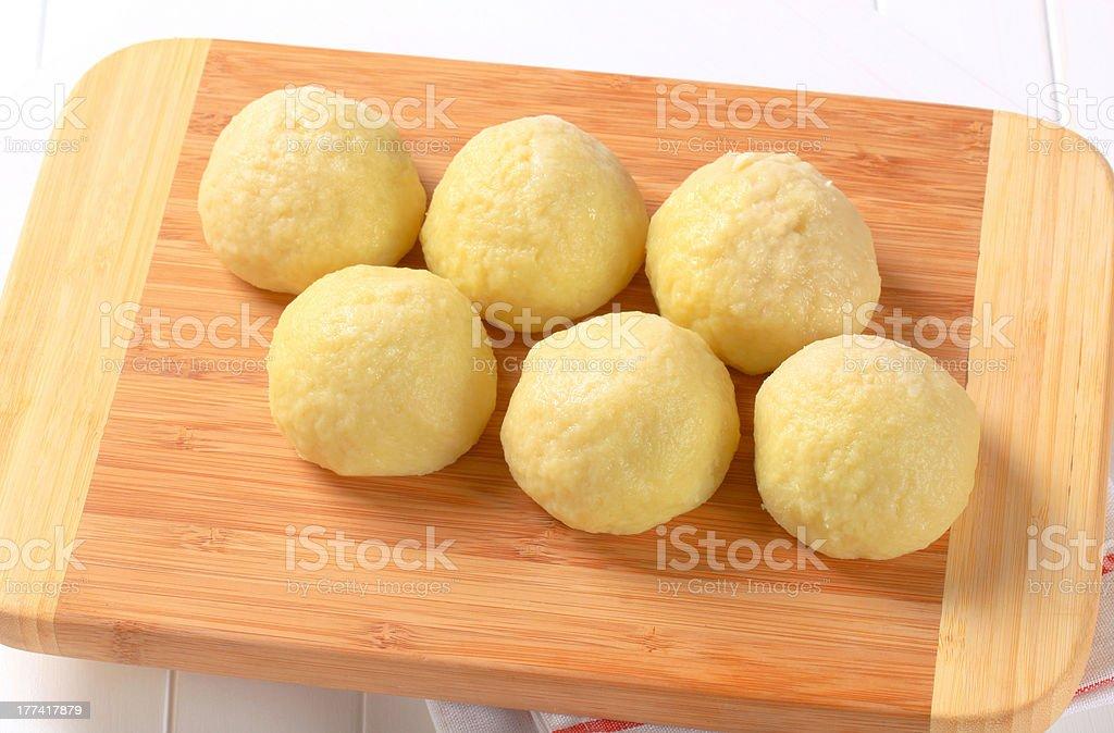 Ball-shaped potato dumplings stock photo