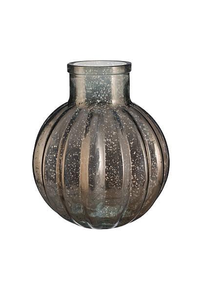 ball-shaped silver mercury glass bottle vase - vase glas stock-fotos und bilder