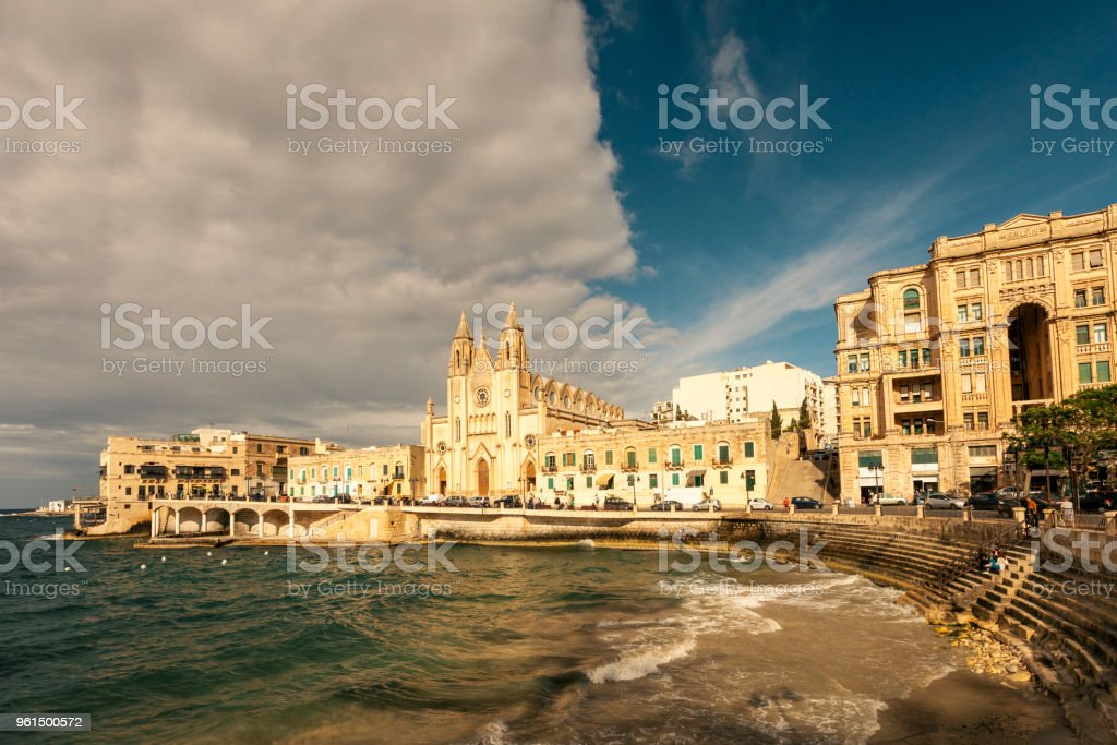 Balluta Bay at sunset, St Julians, Malta stock photo