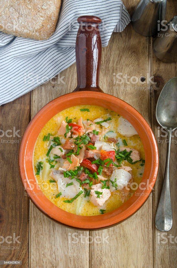 Ballycotton fish chowder stock photo
