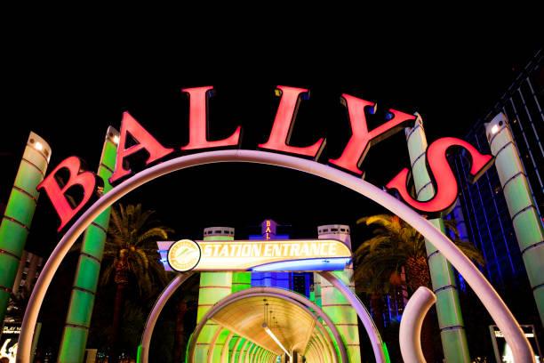 Ballys Hotel and Casino at Night in Las Vegas, Nevada, United States stock photo