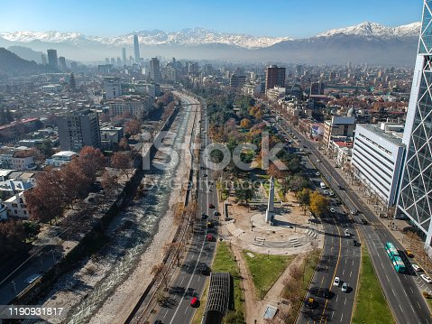 Aerial view of Balmaceda Park and the Andes as background from Baquedano square in Santiago downtown, Chile