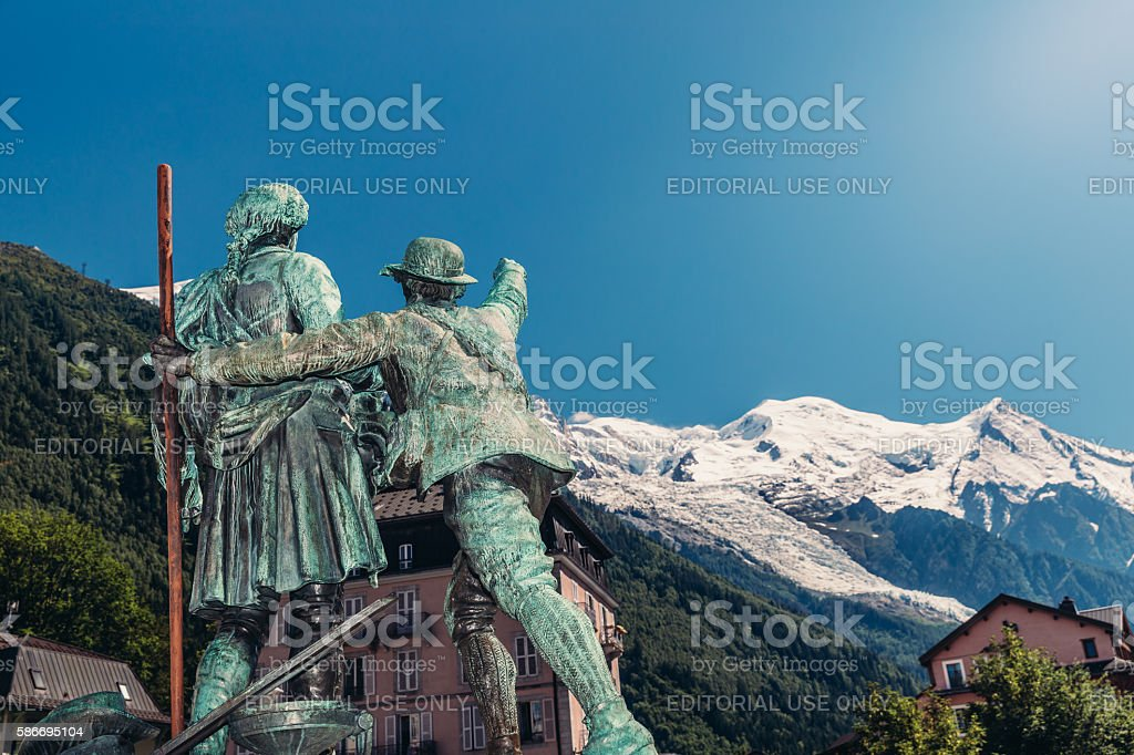 Balmat, de Saussure statue, Chamonix stock photo
